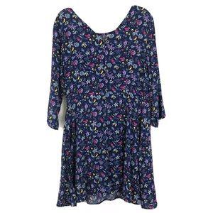 GAP Blue Floral Shift Dress Petite 3/4 sleeves